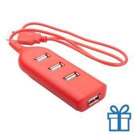 USB hub 4 poorten goedkoop rood bedrukken