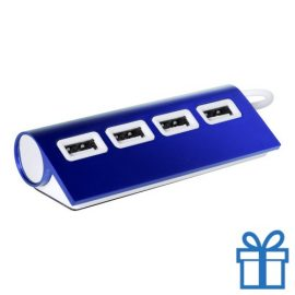 USB hub aluminium 4 ingangen 2.0 blauw bedrukken