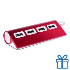USB hub aluminium 4 ingangen 2.0 rood bedrukken