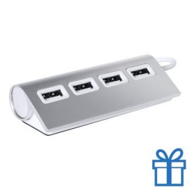 USB hub aluminium 4 ingangen 2.0 zilver bedrukken