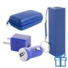 USB lader en powerbank set 2200 mAh blauw bedrukken
