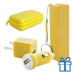 USB lader en powerbank set 2200 mAh geel bedrukken