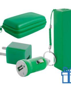 USB lader en powerbank set 2200 mAh groen bedrukken