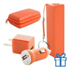 USB lader en powerbank set 2200 mAh oranje bedrukken