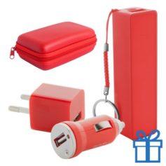 USB lader en powerbank set 2200 mAh rood bedrukken