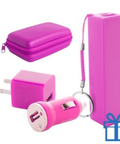 USB lader en powerbank set 2200 mAh roze bedrukken
