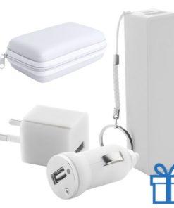 USB lader en powerbank set 2200 mAh wit bedrukken