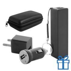 USB lader en powerbank set 2200 mAh zwart bedrukken
