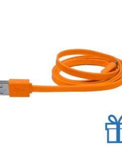 USB lader micro kabel 50cm oranje bedrukken