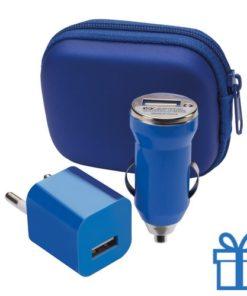 USB oplaadset goedkoop blauw bedrukken