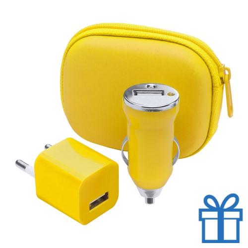 USB oplaadset goedkoop geel bedrukken