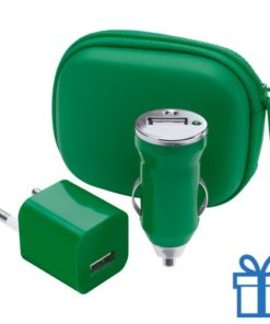USB oplaadset goedkoop groen bedrukken