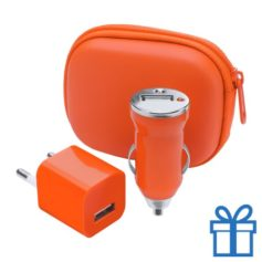USB oplaadset goedkoop oranje bedrukken