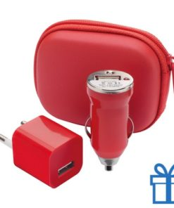 USB oplaadset goedkoop rood bedrukken