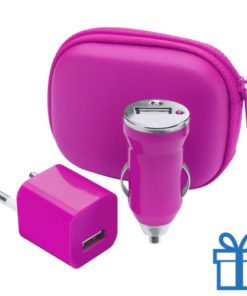 USB oplaadset goedkoop roze bedrukken
