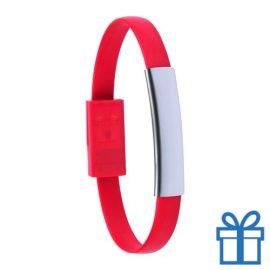 USB oplader rubberen armband blauw bedrukken