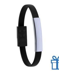 USB oplader rubberen armband zwart bedrukken