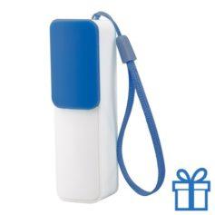 USB power bank 2200 mAh verstelbare poortcover blauw bedrukken