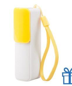 USB power bank 2200 mAh verstelbare poortcover geel bedrukken
