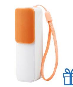 USB power bank 2200 mAh verstelbare poortcover oranje bedrukken