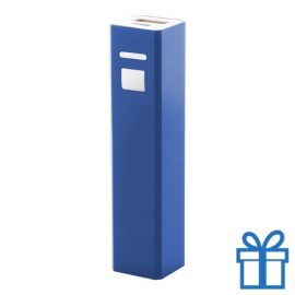 USB power bank aluminium 2200 mAh blauw bedrukken