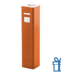 USB power bank aluminium 2200 mAh oranje bedrukken