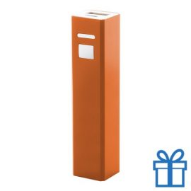 USB power bank aluminium 2200 mAh oranje bedrukken