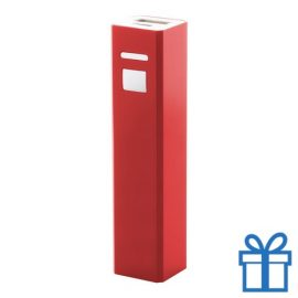 USB power bank aluminium 2200 mAh rood bedrukken
