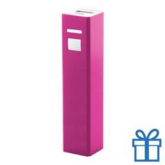 USB power bank aluminium 2200 mAh roze bedrukken