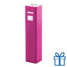 USB power bank aluminium 2200 mAh roze bedrukken