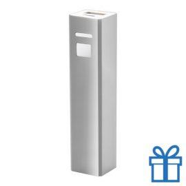 USB power bank aluminium 2200 mAh zilver bedrukken