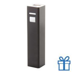 USB power bank aluminium 2200 mAh zwart bedrukken
