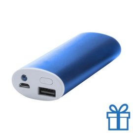 USB power bank aluminium 4000 mAh blauw bedrukken