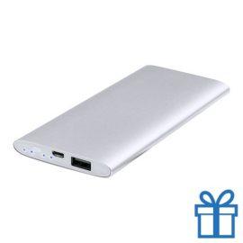 USB power bank aluminium 5000 mAh zilver bedrukken