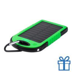 USB power bank met zonne energie lader 4000 mAh groen bedrukken
