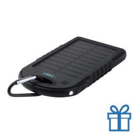 USB power bank met zonne energie lader 4000 mAh zwart bedrukken