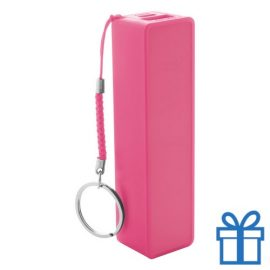 USB power bank plastic 2000 mAh roze bedrukken
