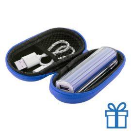 USB powerbank etui 2200 mAh blauw bedrukken