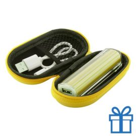 USB powerbank etui 2200 mAh geel bedrukken