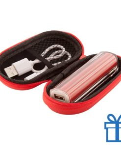 USB powerbank etui 2200 mAh rood bedrukken