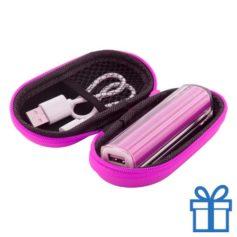 USB powerbank etui 2200 mAh roze bedrukken