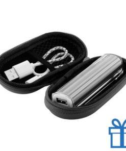 USB powerbank etui 2200 mAh zwart bedrukken