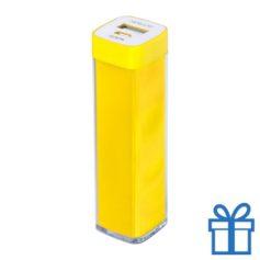 USB powerbank kunststof 2000 mAh geel bedrukken