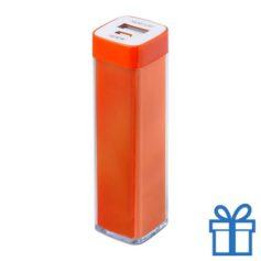 USB powerbank kunststof 2000 mAh oranje bedrukken