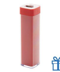 USB powerbank kunststof 2000 mAh rood bedrukken