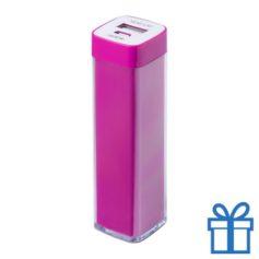 USB powerbank kunststof 2000 mAh roze bedrukken