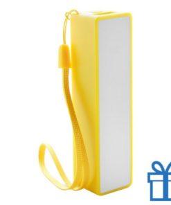 USB powerbank polsbandje 2000 mAh geel bedrukken