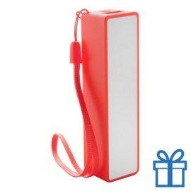 USB powerbank polsbandje 2000 mAh rood bedrukken