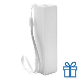USB powerbank polsbandje 2000 mAh wit bedrukken