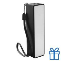 USB powerbank polsbandje 2000 mAh zwart bedrukken
